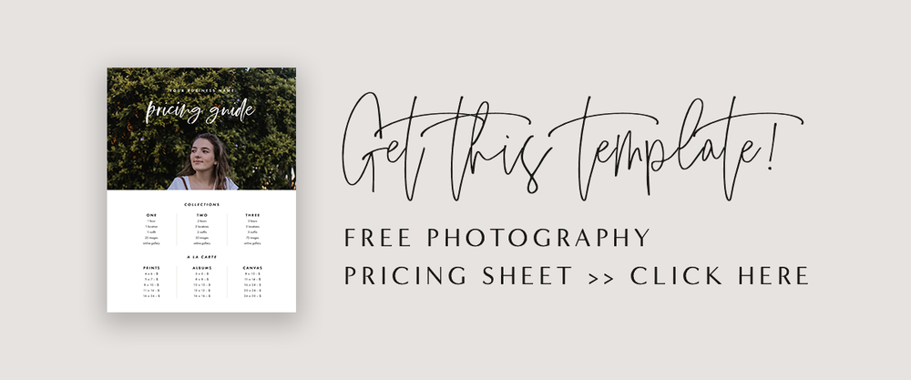 Free Photography Pricing Template | Photography Price List | Marketing Templates for Beginning Photographers | Sell Sheet | Marketing Board | Photography Pricing Guide | Increase Photography Business | How To Get More Photography Clients | Molly Ho Studio