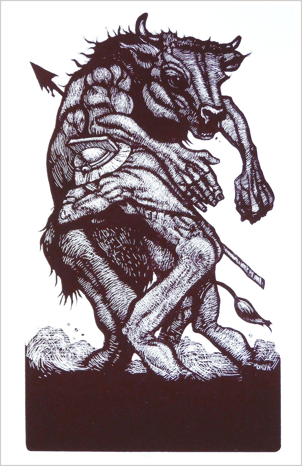 Male screenprint Throwing Bones minotaur