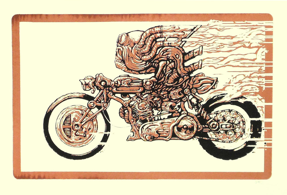 Fusion screenprint motorcycle