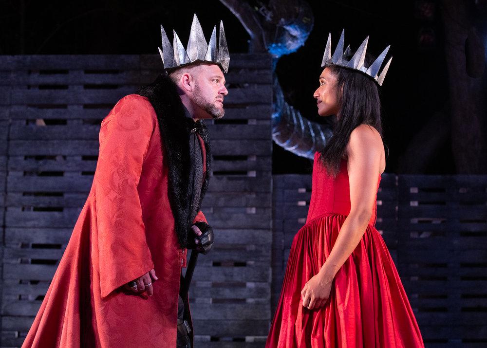 Alan Committie and Bianca Mannie in Richard III. Photo credit: Jesse Kramer .