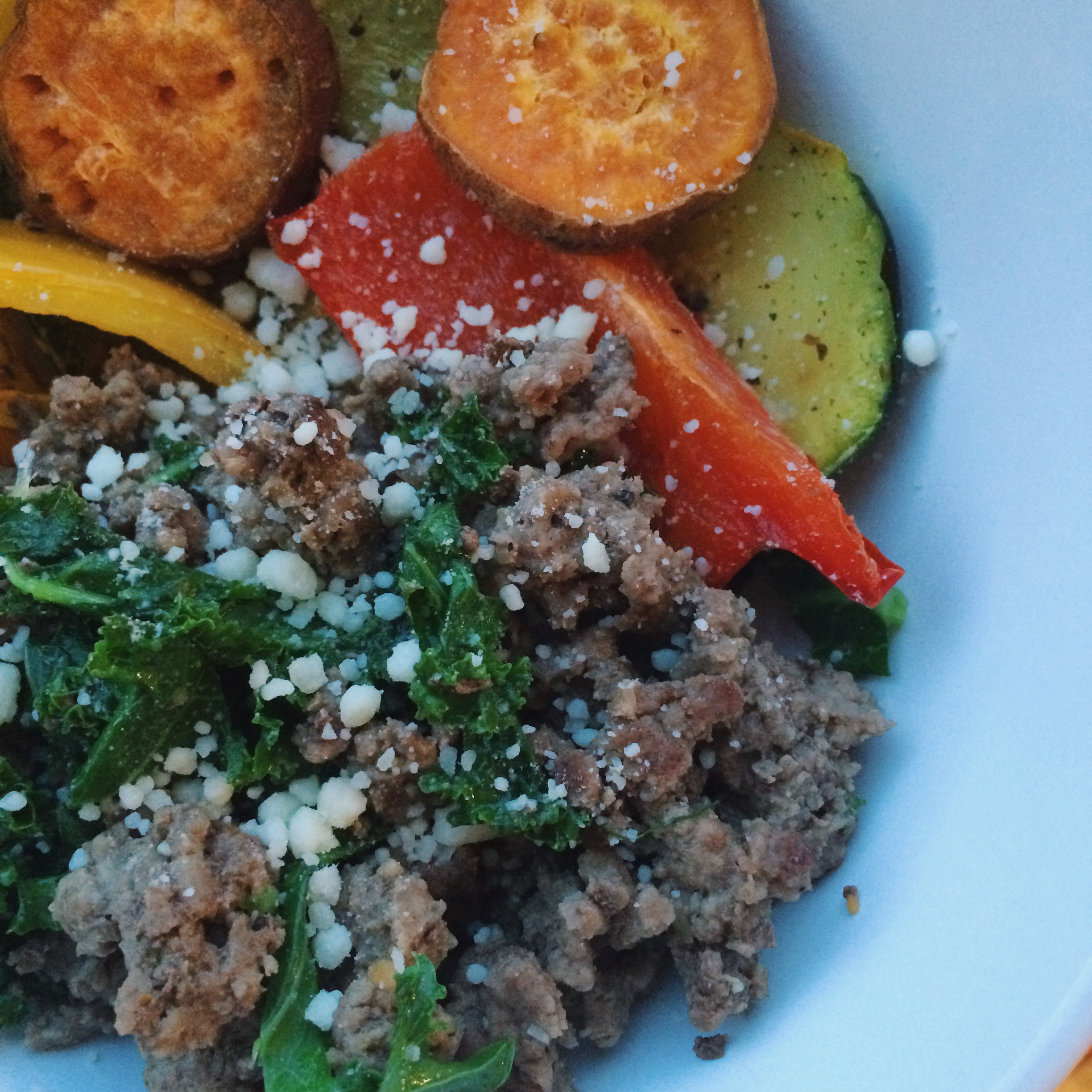 ground beef and roasted veggies