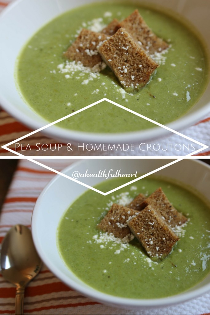 Easy Pea Soup & Homemade Croutons via ahealthfulheart.com. So creamy and delicious + packed with fiber to keep you full!