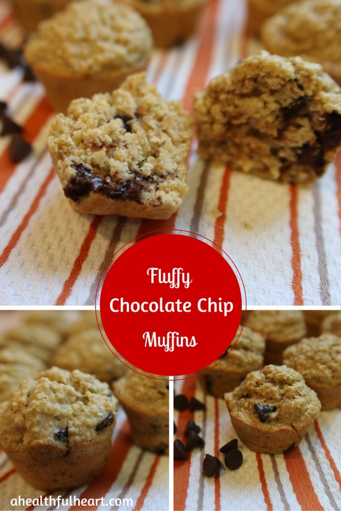 Fluffy Chocolate Chip Muffins via ahealthfulheart.com - simple to make & semi-healthy!