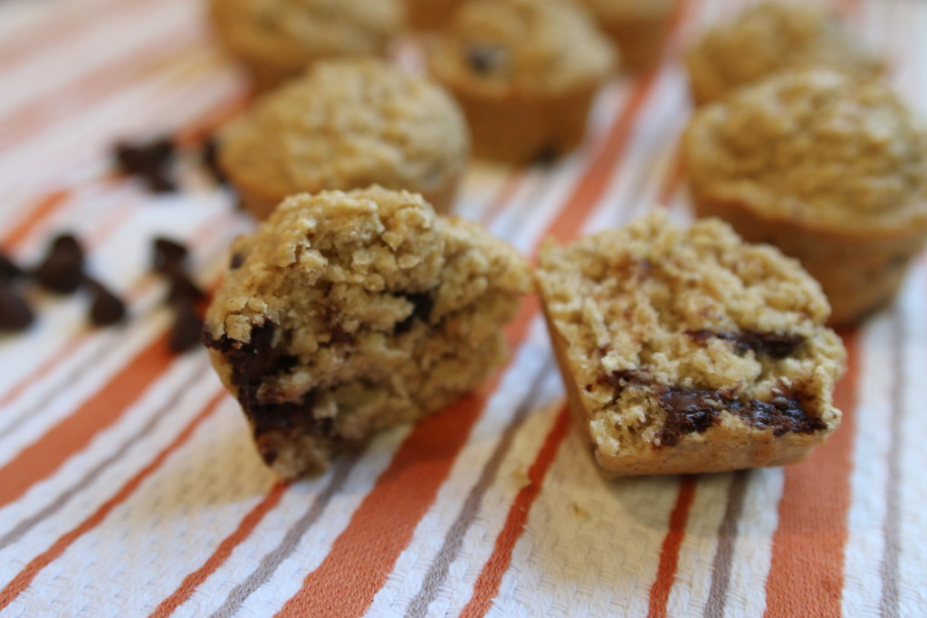 Fluffy Chocolate Chip Muffins via ahealthfulheart.com - made with oat flour and sour cream!