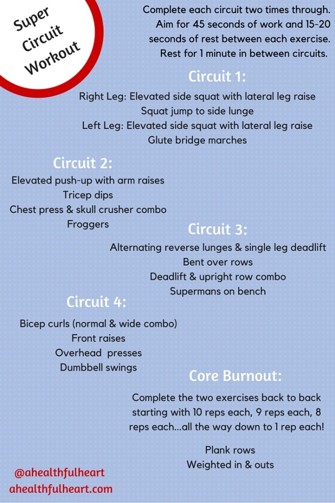 Super Circuit Workout: A sweaty, full body workout! This workout takes about an hour to finish and ends with a core burnout. You will feel the burn! Via ahealthfulheart.com