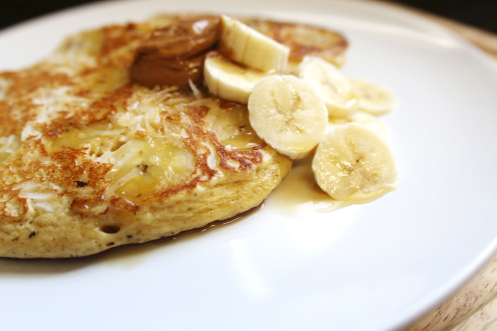 Toasted Coconut & Banana Protein Pancakes