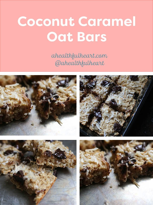 Coconut Caramel Oat Bars | A perfectly light, yet decadent treat via ahealthfulheart.com