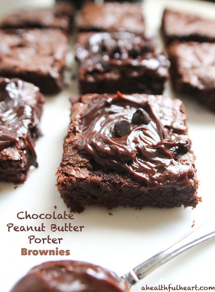 Chocolate Peanut Butter Boozy Brownies via ahealthfulheart.com