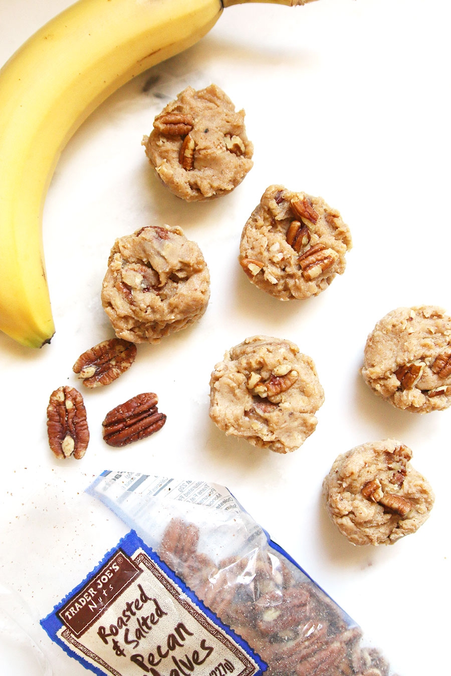 No-Bake Banana Pecan Protein Bites via ahealthfulheart.com - These taste just like cookie dough!