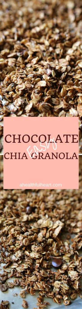 Chocolate Chia Granola | ahealthfulheart.com