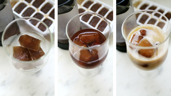 French Press Ice Cofee with Cofee Ice Cubes | ahealthfulheart.com