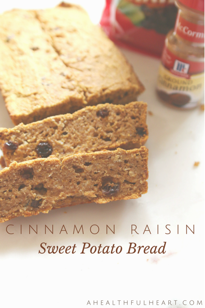 Cinnamon Raisin Sweet Potato Bread via ahealthfulheart.com
