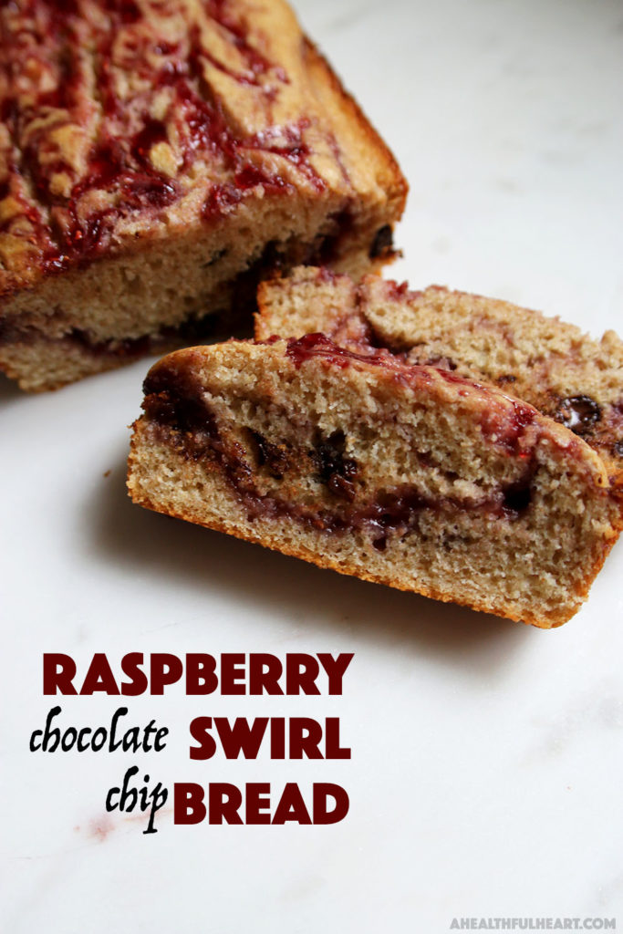 Raspberry Swirl Chocolate Chip Bread via ahealthfulheart.com