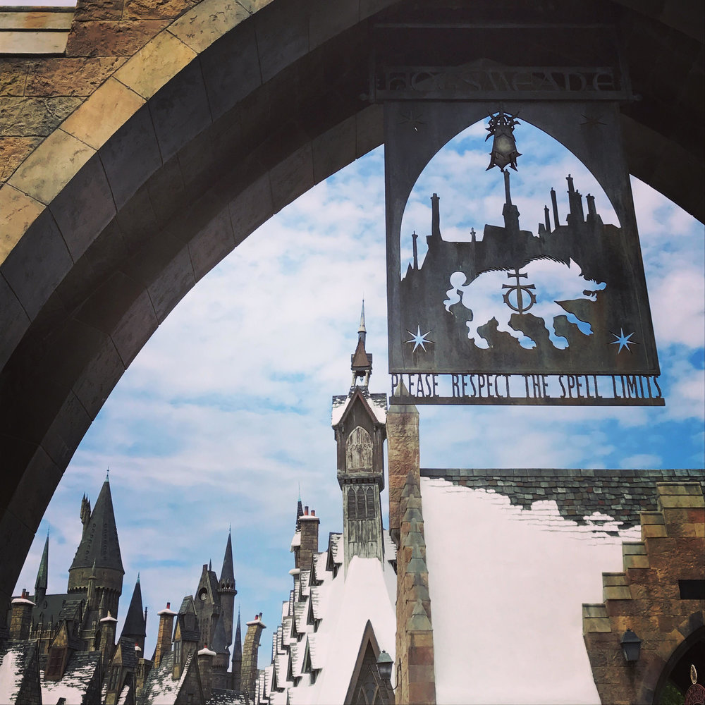 At the gates of Harry Potter's Wizarding World in Universal Orlando