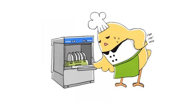 圖二/ 桌下型洗碗機需要人員彎腰操作,較不方便。