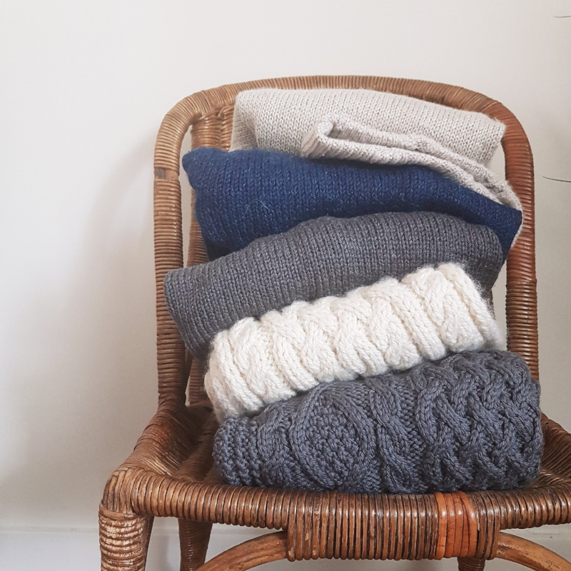 Here are some of my most recent handknits. I know what colours I wear the most, so I stick to them.