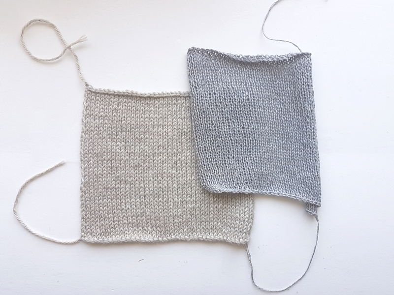 Two very different linen based yarns. Left:  Blacker Yarns' Lyonesse DK . Right:  Quince & Co's Sparrow.