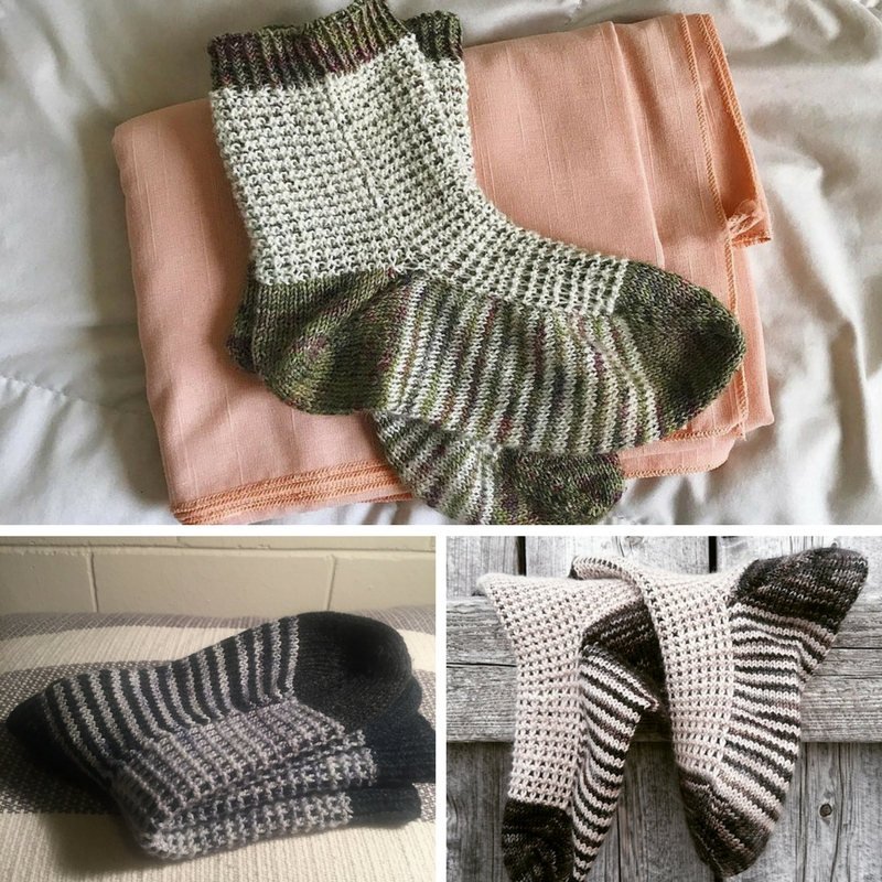 (Clockwise from top) Gaufre Socks by Allison, Esther and Danielle