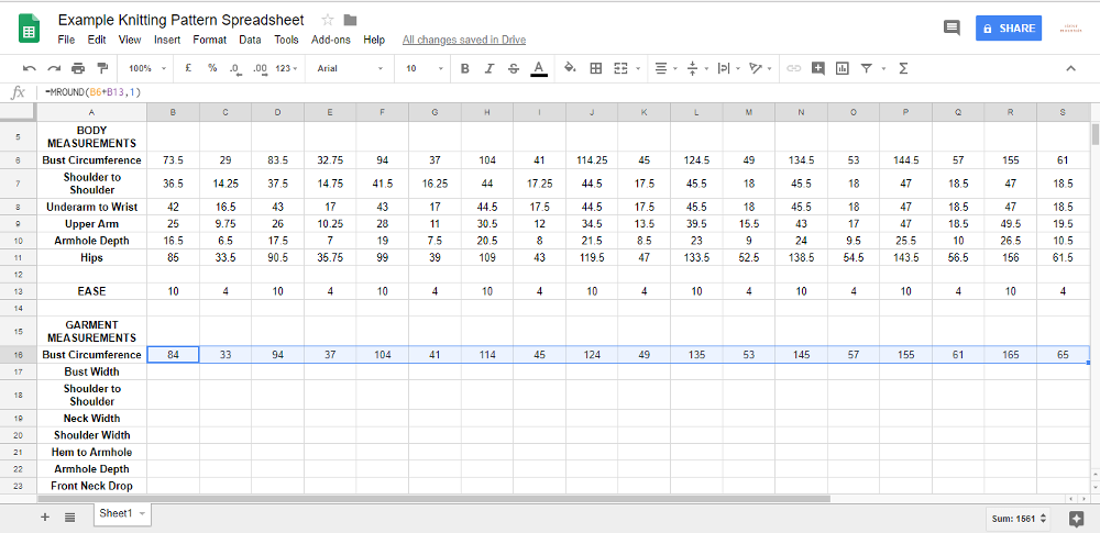 The spreadsheet will reference each size's body measurements to grade it.
