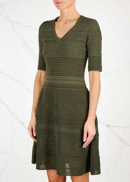 M MISSONI - Army Green Striped Stretch-Knit Dress - £585/$739