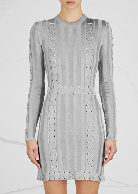 BALMAIN - Silver Lace-Up Stretch-Knit Mini Dress - £1,900/$2,324
