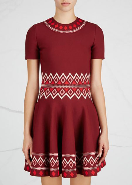 ALEXANDER MCQUEEN - Claret geometric stretch-knit dress - £1,285/$1,624