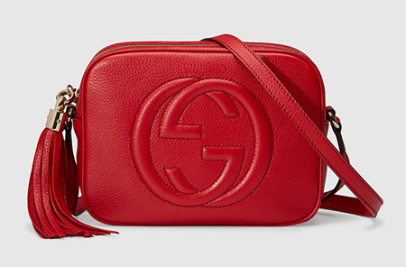 GUCCI Soho Leather Disco Bag in Red, £715/$869
