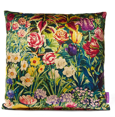 LIBERTY ART FABRICS - Gail's Garden in Dawn Vintage Velvet Cushion, £135