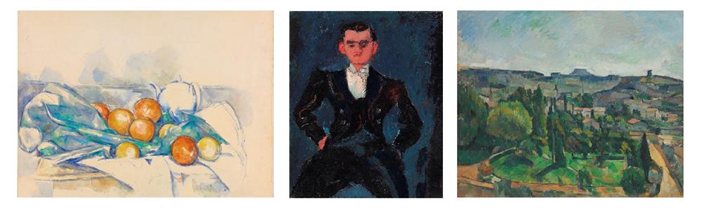 LEFT: Paul Cézanne (1839-1906), Théière et oranges (La Nappe), circa 1895-1900 (estimate: $8,000,000-12,000,000) CENTER: Chaim Soutine (1893-1943) Le garçon d'étage, circa 1928 (estimate: $6,000,000-9,000,000) RIGHT: Paul Cézanne (1839-1906), Paysage avec route et clocher (Île de France près de Melun), 1879-1880 (estimate: $10,000,000-15,000,000)