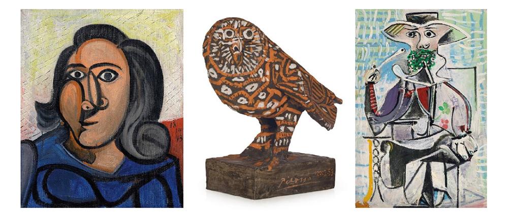 LEFT: Pablo Picasso (1881-1973), Tête de femme (Dora Maar), 1943 (estimate: $9,000,000-12,000,000) CENTER: Pablo Picasso (1881-1973), Le hibou (rouge et blanc), 1953 (estimate: $1,000,000-1,500,000) RIGHT: Pablo Picasso (1881-1973), Homme à la pipe, 1969 (estimate: $15,000,000-20,000,000)