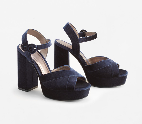 These fabulous Platform Velvet Sandals, £49.99, in night blue will subtly pick out the hint of blue in the dress.
