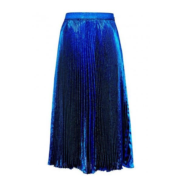 CHRISTOPHER KANE - Blue Plissé Lamé Skirt, £595