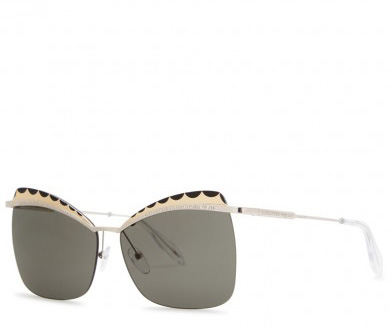 ALEXANDER MCQUEEN - Silver tone butterfly-frame sunglasses, £336