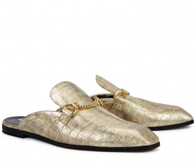 STELLA MCCARTNEY - Gold crocodile-effect loafers, £500