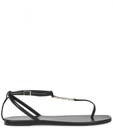 SAINT LAURENT - Black leather sandals, £425