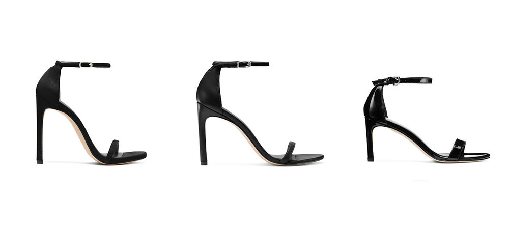 15674a34cf L to R; Nudist in Suede £365/$398; Nudistsong in Nappa Leather £365/$398;  Nunakedstraight in Patent £365/$398