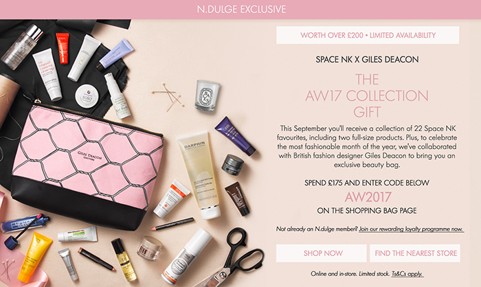 Space NK  has just launched their  AW17 Collection Beauty Gift  (worth over £280), free when Ndulge customers spend over £175. So, if you're not an Ndulge customer yet, now is definitely the time to become one - what better incentive do you need! And let's face it, no-one has trouble shopping at Space NK.  Space NK has collaborated with British Fashion Designer Giles Deacon to create a custom made makeup bag, filled with 22 Space NK favourites including 2 full size products.