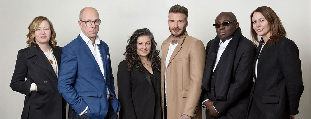 Sarah Mower, Dylan Jones, Sophia Neophitou, David Beckham, Edward Enninful and Caroline Rush