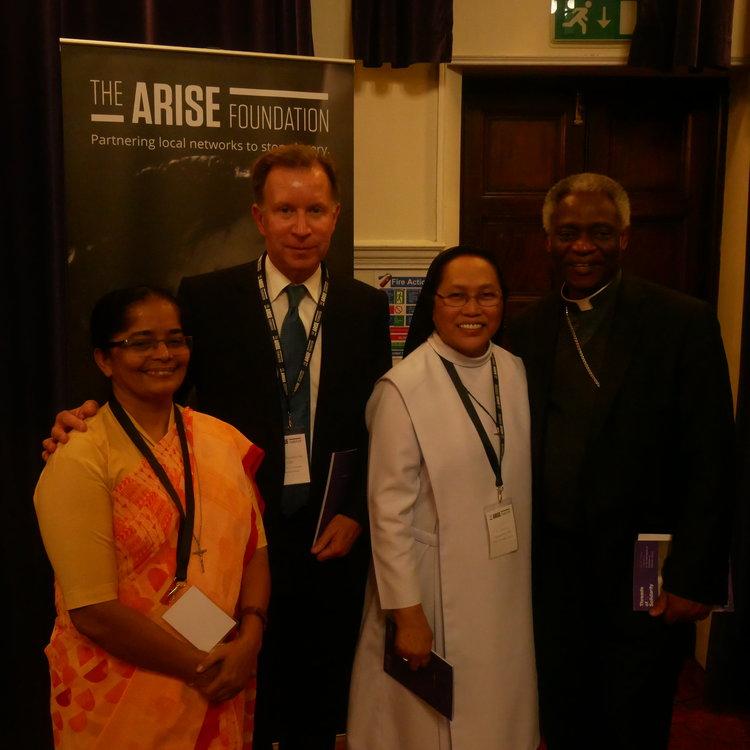 l to r: Sr Arpan Carvalho BS, John Studzinski CBE, Sr Cecilia Espenilla OP and Cardinal Turkson