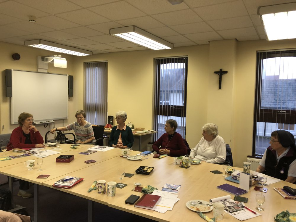 Sister Marie, far left & Sister Isabel, far right at a TRAC meeting