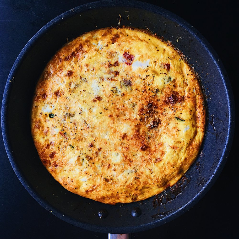 Frittata with a pan-made BBQ sauce using smoked paprika, honey, and apple cider vinegar