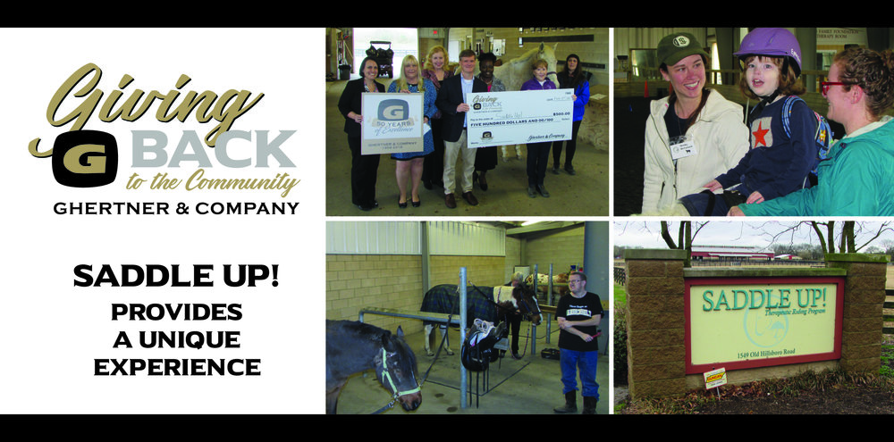 Pictured in the check presentation are Ghertner & Company managers and leadership associates: Kim Basham, Jaye Kloss, Elecia Beard, Scott Ghertner (Co-President) and Deborah Wallace. Receiving the donation are Tina Carpenter, Saddle Up! Development Coordinator and Rachel Brenner, Ghertner & Company accounting associate and Saddle Up! volunteer.