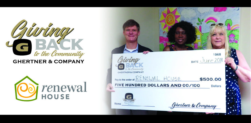 Receiving the check on behalf of Renewal House is   Pamela Sessions (center)   from Scott Ghertner, Co-President of Ghertner & Company and Jaye Kloss, Director of Compliance and Training at Ghertner & Company.