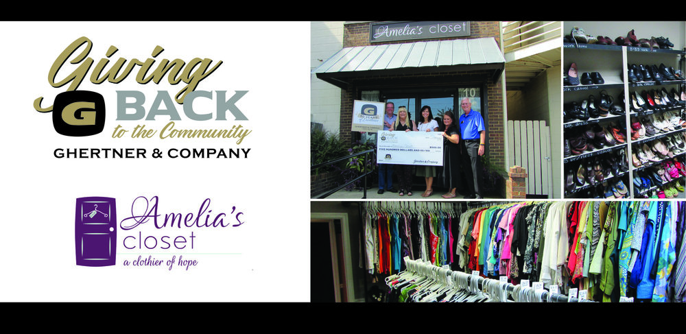 Pictured at the check presentation are Ghertner & Company associates Michael Ryckeley, Jaye Kloss and Bob Welborn with Amelia's Closet founder Jody Powers and treasurer Gwen Turner.