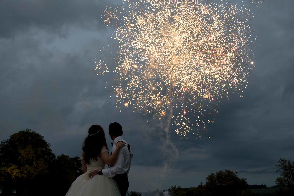 Wedding fireworks, Buckinghamshire wedding photographer
