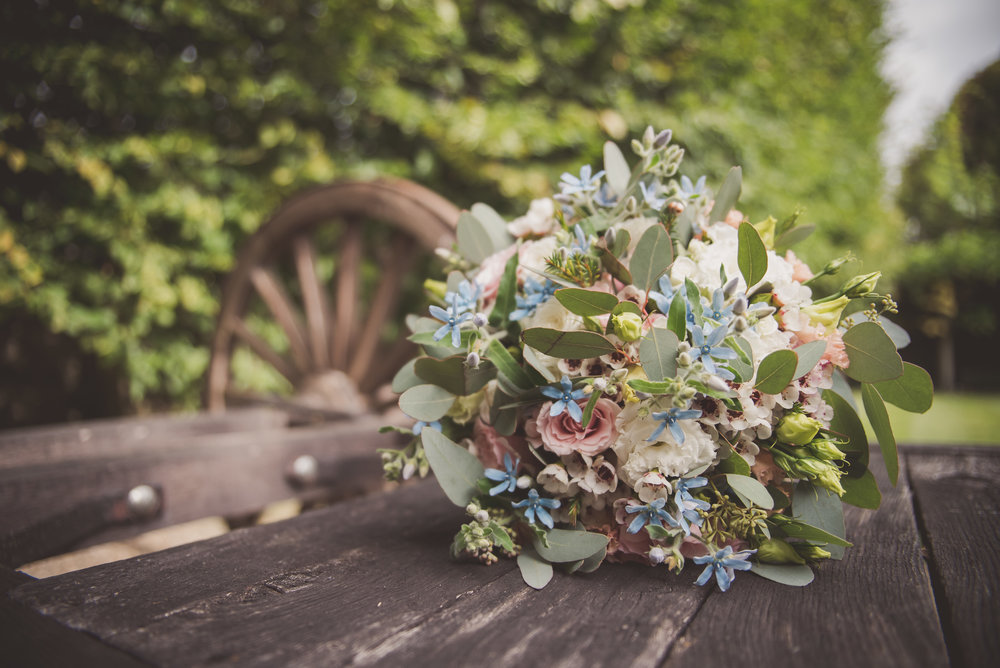 Bridal bouquet at The Tythe Barn wedding