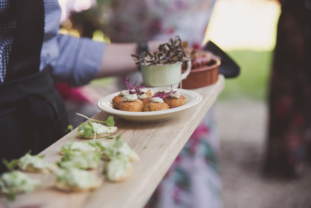 Canapés at Tythe Barn wedding