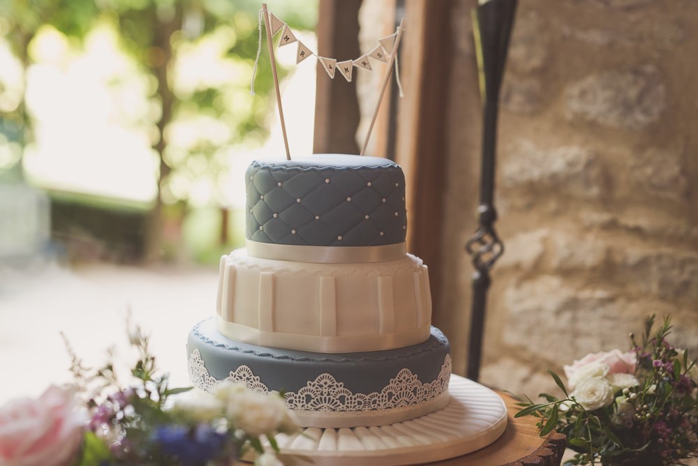 Wedding cake at Tythe Barn