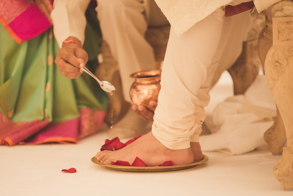 Hindu Groom has feet washed