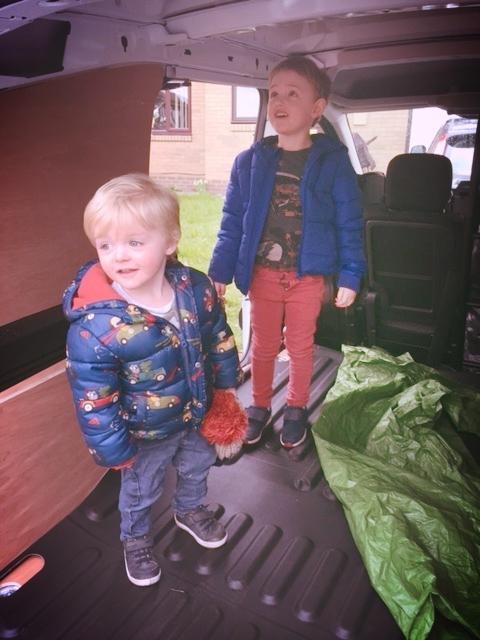 My sons Archie and Oscar in the new Carsun's Bazaar van!